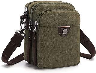 Multifunction Canvas Mini Sling Shoulder Messenger Bag Waist Bag for Men (Color : Green, Size : L12.5*W8*H16.5CM)