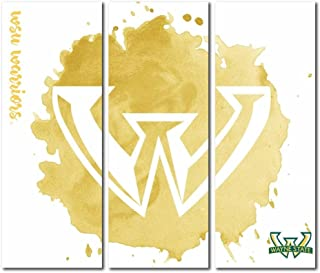 Victory Tailgate Wayne State University Warriors Triptych Canvas Wall Art Watercolor (48x54 inches)