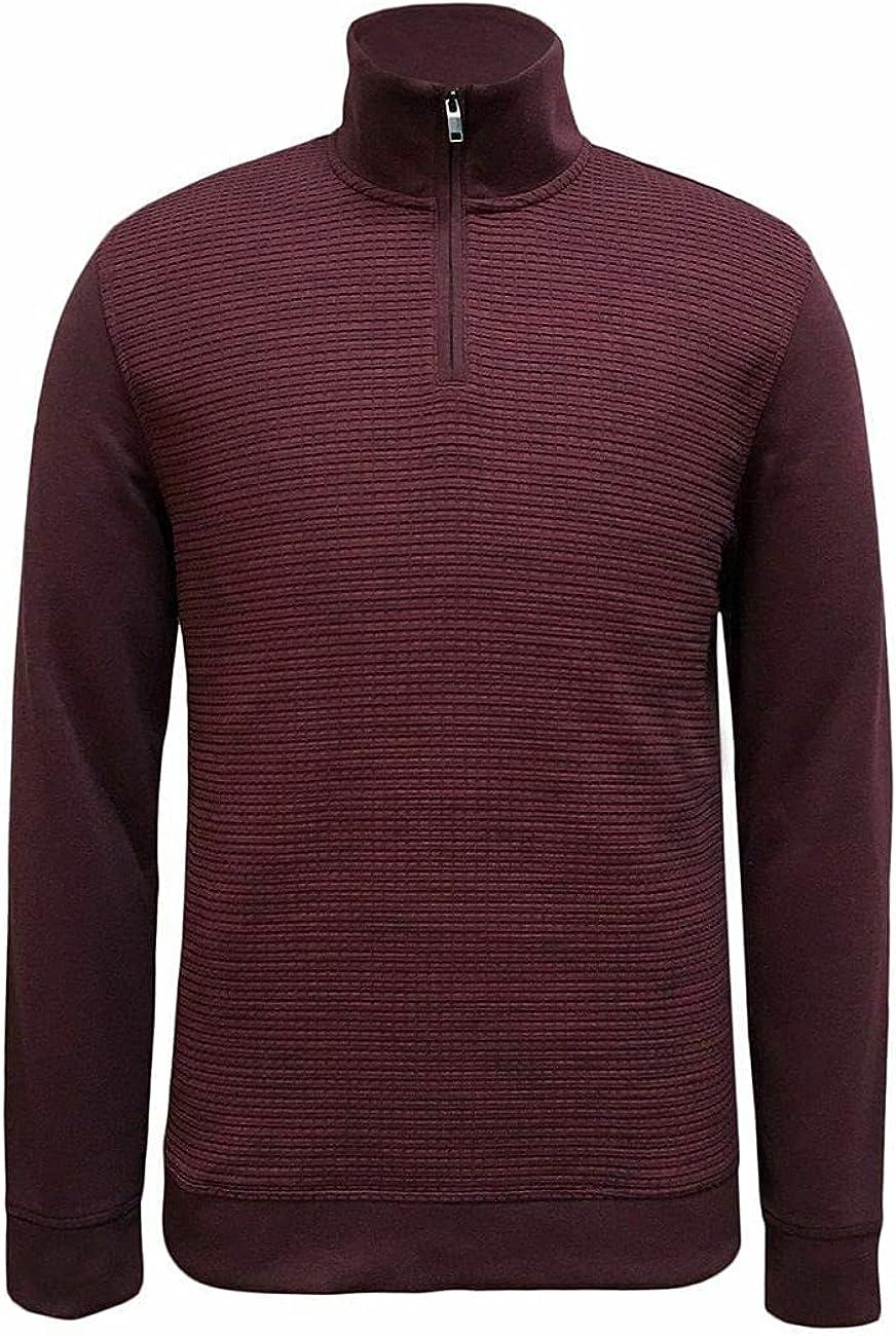 Alfani Mens Sweater Large Pullover Textured Quarter-Zip Red L