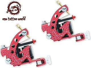 1TattooWorld (2) x Professional Cast Iron 10 Wrap Aluminum Coils Tattoo Machine Liner & Shader, Red, OTW-M218-6