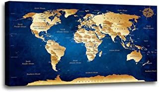 Wall Art blue map of the world Painting Ready to Hang -20