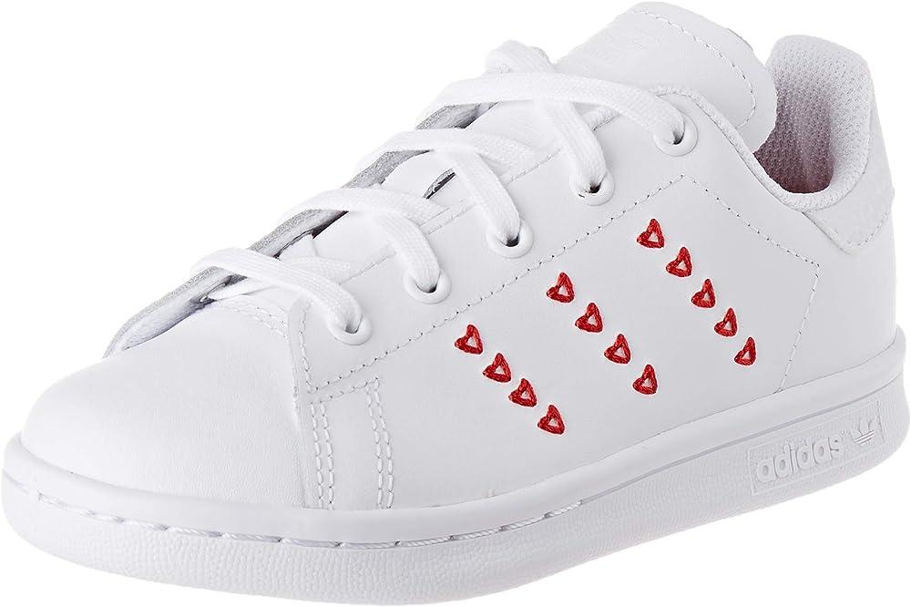 Adidas stan smith c, scarpe da ginnastica unisex-bambini - ragazzi/e,in pelle sintetica EG6500