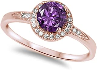 1.25ct Halo Set Solitaire Cubic Zirconia & Simulated Gemstone Promise Engagement Ring .925 Sterling Silver Ring Sizes 3-12 Colors Available