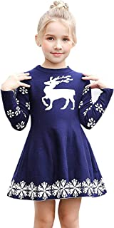 Clearance!! Kids Baby Girls Party Princess Dress,Christmas Xmas Deer Snowflake Print Winter Warm Knit Sweater Dresses