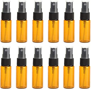 12 botellas de cristal ámbar con boquilla negra y tapa transparente para maquillaje perfume cosméticos paquete de muest...