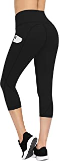 TQD High Waist Yoga Pants with Pockets, Capri Leggings with Pockets 4 Way Stretch Tummy Control Workout Yoga Pants for Women