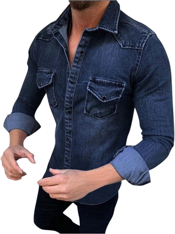 WOCACHI Mens Denim Jacket Button Down Western Slim Fit Lapel Long Sleeve Shirts Work Denim Coat with Front Pocket