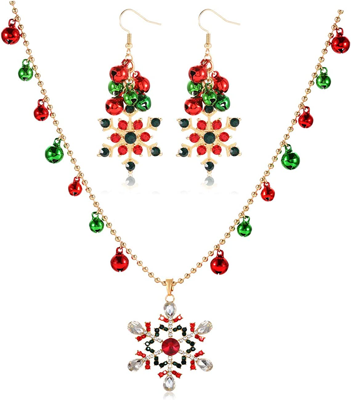 Christmas Earrings Necklace Jewelry Set Colorful Jingle Bells Dangle Earrings Long Bells Beaded Chain Snowflake Charm Pendant Necklace Xmas Festive Holiday Party Gift for Women Girls