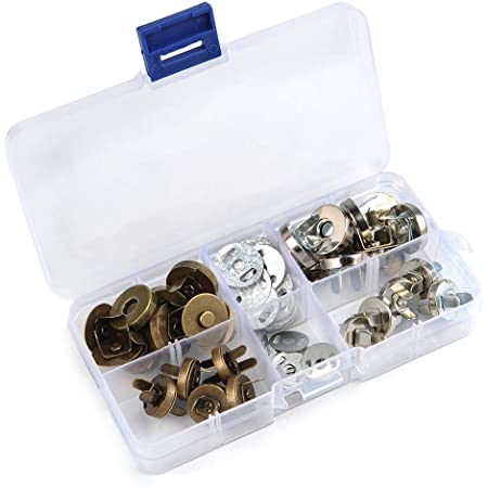 TIMESETL 20Pcs Fermoir magnétique bouton Circulaire Pour Sac en Tissu, Vêtements,Portefeuille en cuir ect 2 couleurs -cuivré,argenté