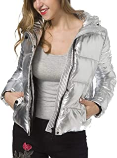 UUYUK Women's Winter Metallic Hoodies Quilted Cotton Padded Short Down Jacket