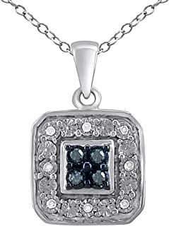 Pendant Necklace for Women in 925 Sterling Silver Treated and Real Diamond Studded Jewelry for Girls (I-J Color, I2-I3 Clarity) with 18