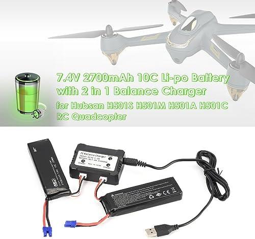 barato en línea 73JohnPol 2 Piezas Piezas Piezas 7.4V 2700mAh 10C Li-po batería con 2 en 1 Repuestos de Cargador de Equilibrio para Hubsan H501S H501M H501A H501C RC Quadcopter (Color  negro)  suministro de productos de calidad