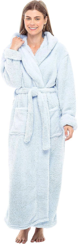 Long Warm Printed Bathrobe Alexander Del Rossa Womens Plush Fleece Robe with Hood