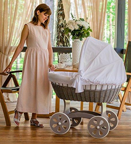 ComfortBaby ® HOME XXL Baby Stubenwagen - komplette 'all inclusive' Ausstattung - Zertifiziert & Sicher (Grau – Weiss)