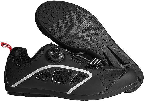 LHY RIDING Chaussures de Cyclisme pour Hommes et Femmes Casual Chaussures antidérapantes Portent des Chaussures Non verrouillables,noir,42
