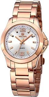 MEGIR ساعات كوارتز بسيطة للمرأة الأزياء الفولاذ المقاوم للصدأ حزام اللباس ساعة اليد امرأة السيدات بسيطة تناظرية ووتش بنات