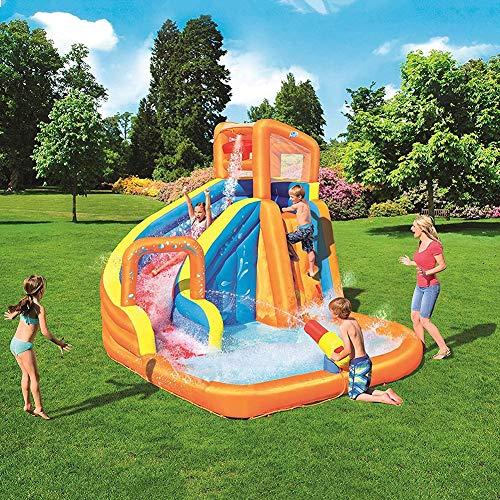 DNNAL Hüpfburg Wasserpark, Mega Castle Wasserpark für Kinder mit Wasserrutsche, Wasserpistole, Kletterwand und Poolbereich