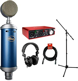 Blue Bluebird SL Large-Diaphragm Condenser Studio Microphone with Focusrite Scarlett 2i2 USB Audio Interface, HPC-A30 Monitor Headphone, Mic Stand & 20' XLR Cable Bundle