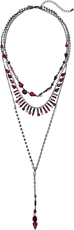 Rhinestone Cluster 3 Layer Lariat Style Necklace