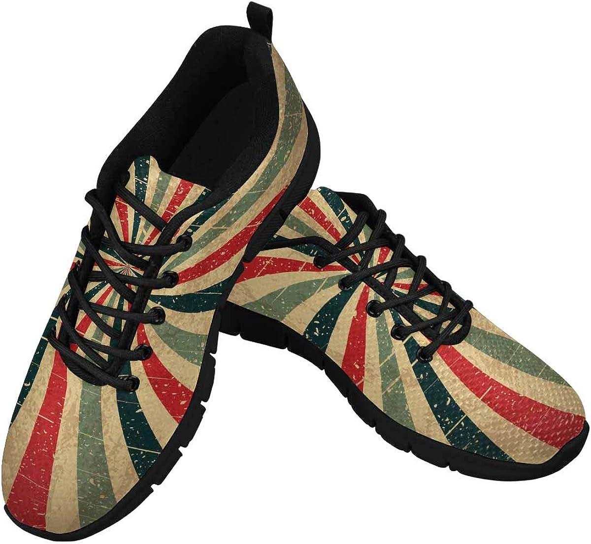 INTERESTPRINT Retro Grunge Women's Sneaker Lace Up Running Comfort Sports Shoes