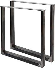 WilTec Industrial Square tafelpoten gepoedercoat grijs 30x43cm voor tafels banken en bureaus