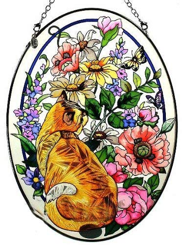 Amia Oval Suncatcher with Cat in Summer Garden Design Hand Painted Glass 61/2Inch by 9Inch