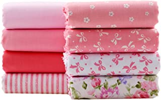 Pink Series Floral Cotton Fabric Patchwork Fabric Fat Quarter Bundles Fabric for DIY Crafts Bedding Bags Doll Dress 40X50cm 8 Pieces (As Picture Shown)