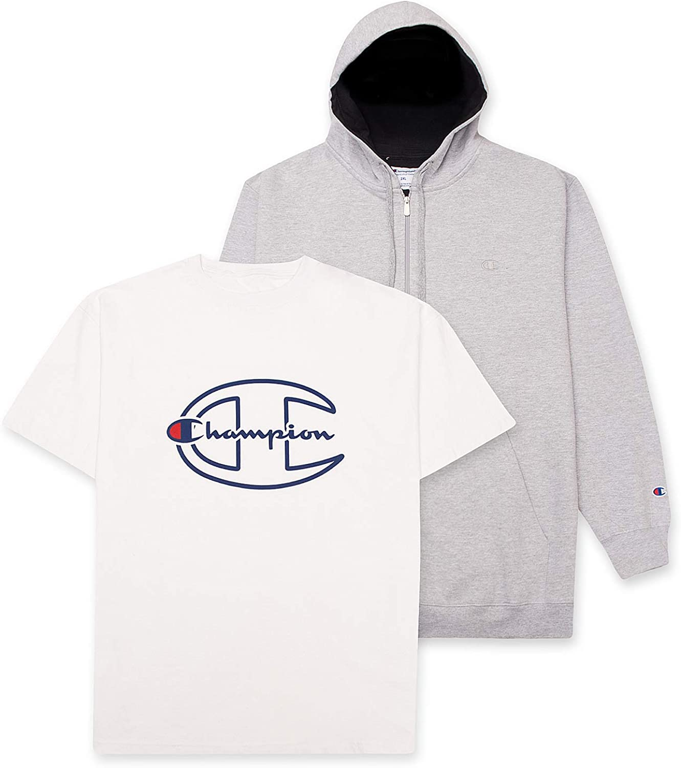 Champion Hoodies for Men - Big and Tall Shirts for Men - 2 Pack Mens T-Shirt & Champion Hoodie