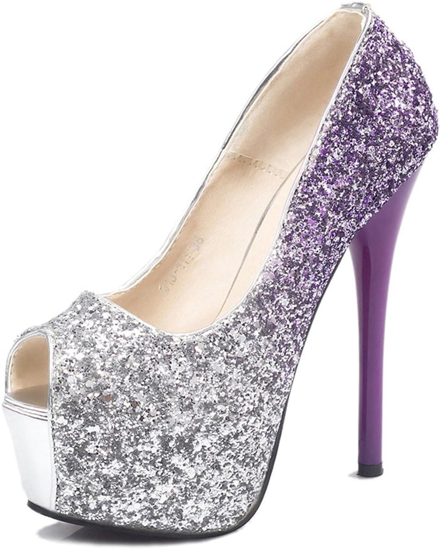 Gusha Leak-Toe shoes Wedding shoes Platform Sequins high Heels Women's Sandals