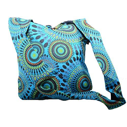 KUNST UND MAGIE Schultertasche Umhängetasche mit bunten Psy Mustern, Farbe:Blau