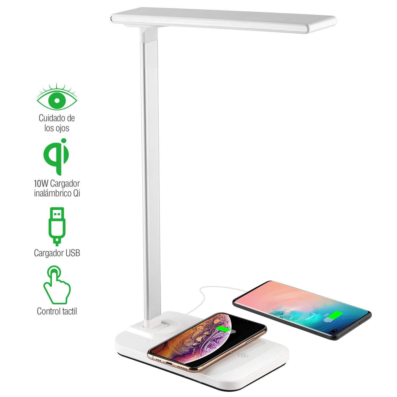 Lámpara Escritorio LED Táctil - 10W Qi Rápida Cargador Inalámbrico para todos los Teléfonos Qi y Puerto USB, Lámparas de Mesa Regulable Plegable de aleación de aluminio, Bajo Consumo, Anti Fatiga Ojos: