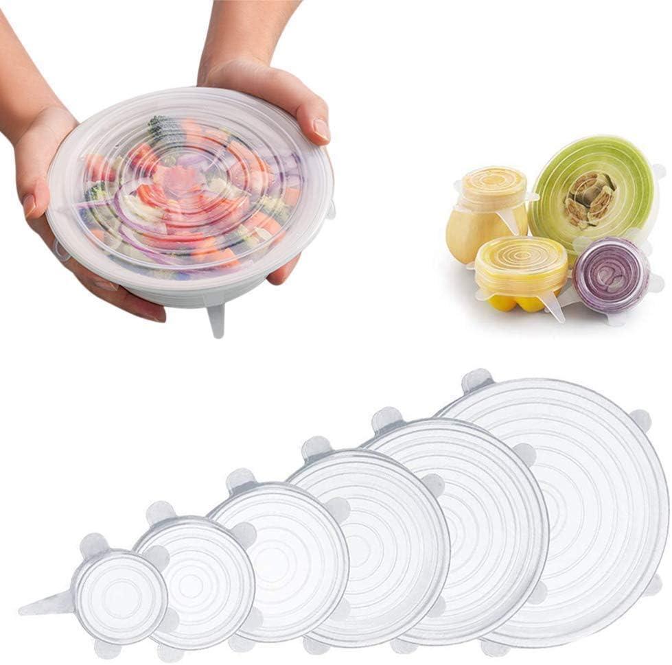 Tapas elásticas de silicona, Tapa de varios tamaños para tazón reutilizable, duradero y expandible para adaptarse a muchos tamaños y formas de contenedores. para mantener la comida fresca.