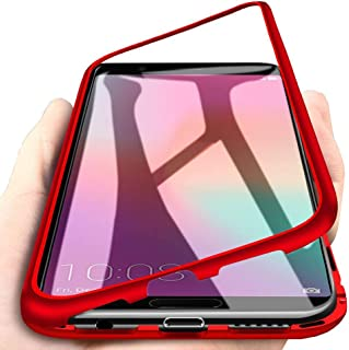 Huawei Honor View 10 Case, Eabuy Aluminum Metal Bumper Frame + Transparent Tempered Glass Back 2 in 1 Magnetic Adsorption Case Cover for Huawei Honor View 10 Red [with Screen Protector]