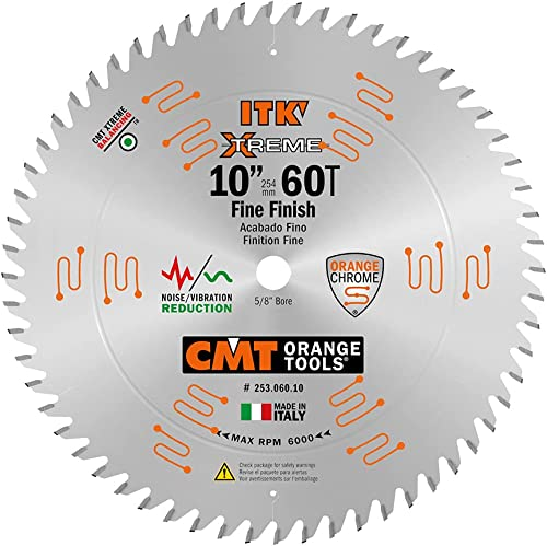 discount CMT 253.060.10 ITK Industrial sale Finish Sliding sale Compound Miter Saw Blade, 10-Inch x 60 Teeth 1FTG+2ATB Grind with 5/8-Inch Bore sale