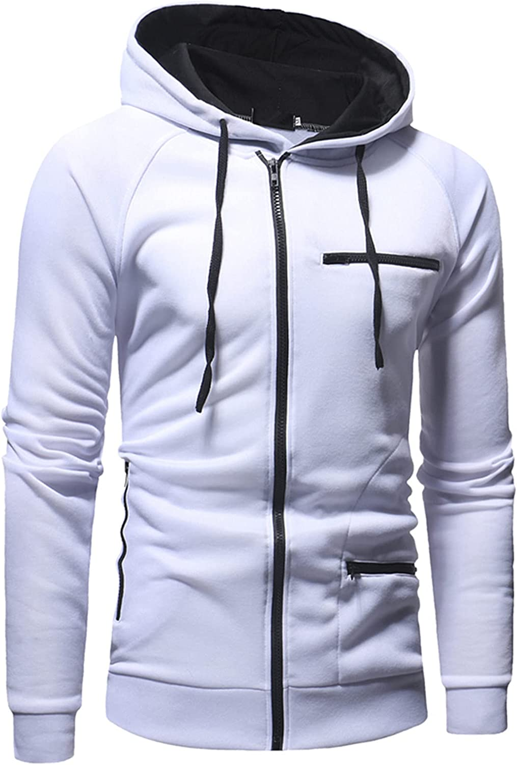 XXBR Zipper Hoodies for Mens, Fall Color Block Drawstring Hooded Sweatshirts Slim Fit Sports Workout Casual Jackets