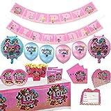 Ensemble de fournitures de fête pour poupées LOL Kit de vaisselle de fête d'anniversaire avec ballons décorations de bannière fournitures de fête de célébration complètes pour 10 enfants enfants