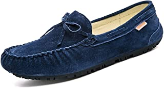 ZiWen Lu Driving Loafer for Men Boat Moccasins Slip On Style Leather Fashion Bowknot Pure Colors (Color : Blue, Size : 7 UK)