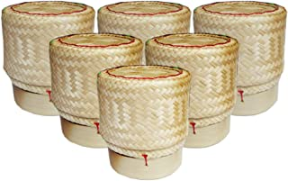Thai Sticky Rice Basket Size 3 Inches (Pack of 6) Handmade Bamboo Rice Container