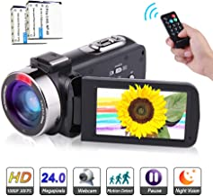 Camcorder 1080P FHD Video Camera Night Vision Video Camcorder with 270 Degree Rotation Screen and Remote Control Vlogging Camera for YouTube with 2 Batteries