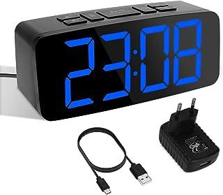 YISSVIC Réveil Numérique LED Réveil Digital 2 Alarmes Fonction Snooze 6 Niveaux Luminosité Réglable Formats 12/24 Heures I...