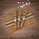 THY COLLECTIBLES Eco-Friendly 18' x 12' Bamboo Table Place mats Non-Slip Table Decor Mats for Kitchen Dining Room Set of 4, Multi-Colored