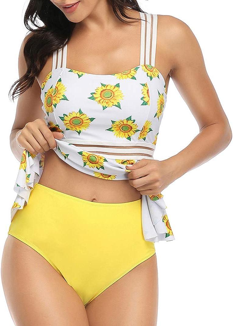 HenzWorld Women High Waited Bikini Swimsuit 2 Piece Bathing Suit Cross Swimwear Swimming Suit Beach Pool Holiday Swim Suit