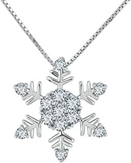 925 Sterling Silver Necklace Birthstone Crystal Frozen Snowflake Pendant Fashion Gift for Xmas