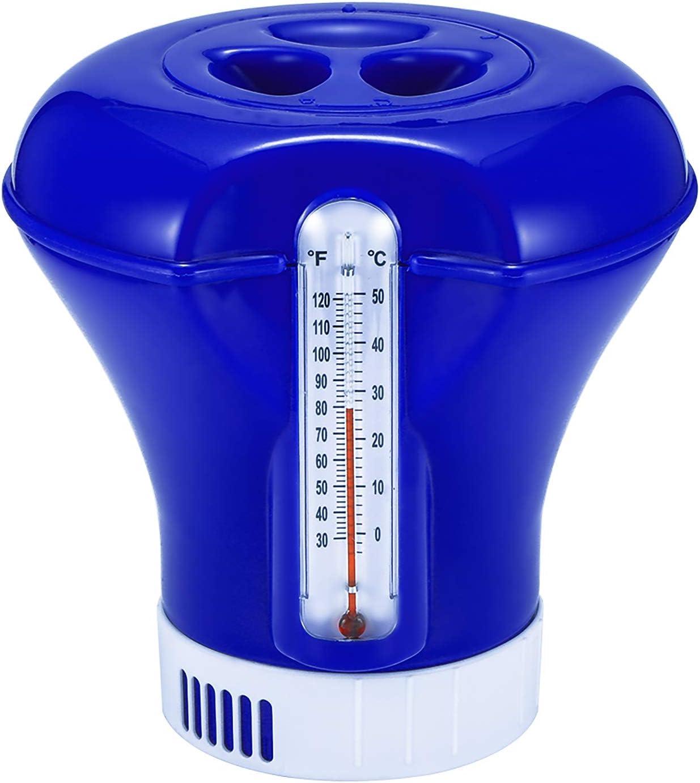 Salangae Dispensador Cloro Piscina,Dispensador de Cloro Flotante químico de 8 Pulgadas con termómetro Adecuado para Piscina subterránea, SPA