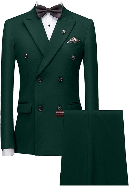 MLAEKT Men Formal Peak Lapel 2 Pieces Suit Double Breasted Wedding Jacket Pants Jacket+Pants+Bow Tie