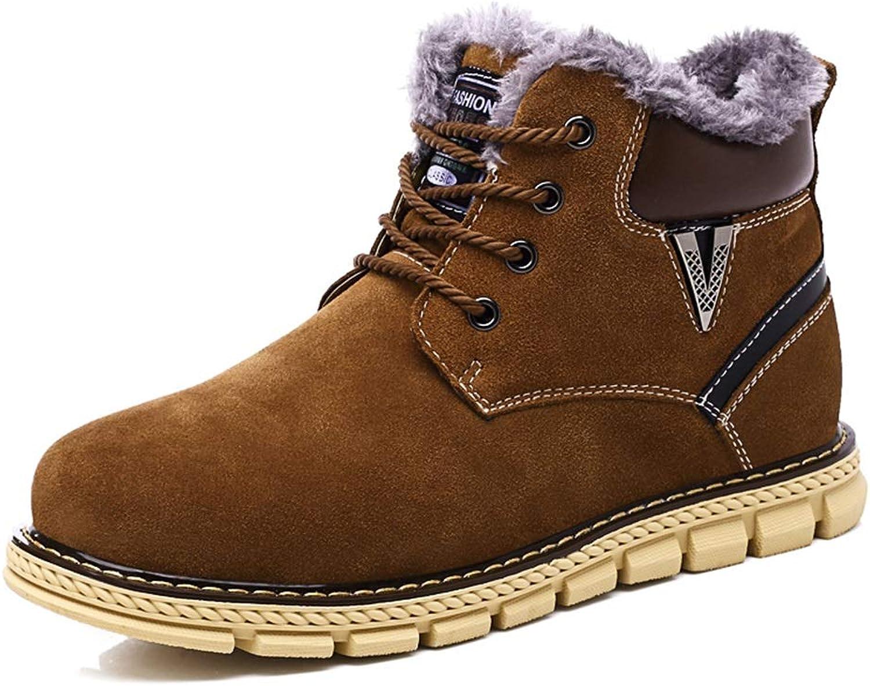 JUJIANFU-shoes Casual Simple Lace-up Winter Faux Fleece Inside Home shoes Men's Fashionable Snow Boots Warm shoes
