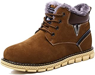 JIANFEI LIANG Men's Fashionable Snow Boots Casual Classic Individual Stitching Lace up Winter Faux Fleece Inside Anti-slip Home Shoes (Color : Blue, Size : 42 EU)