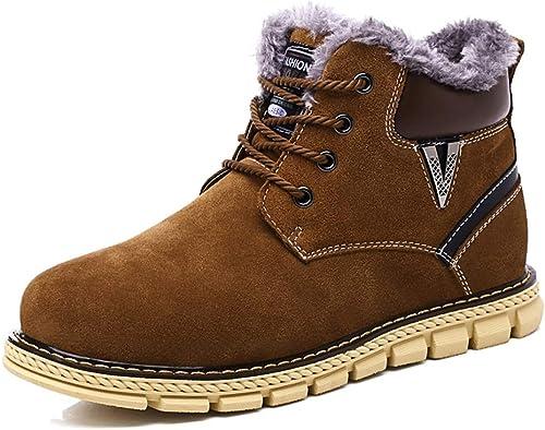 JIALUN-des sandales Bottes de Neige à la Mode pour Hommes Occasionnels Classique Couture individuelle Lacets Hiver Faux Polaire Intérieur Chaussures