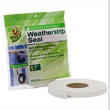 Duck Brand Self Adhesive Foam Weatherstrip Seal for Large Gaps, 3/4-Inch x 3/8-Inch x 10-Feet, 1 Roll, 1278972,White