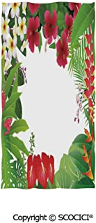 SCOCICI Soft Breathable Beach Towel 37×74(in),Hibiscus Plumeria Crepe Gingers Anthurium Leaves Frame Image Print Decorative,Multipurpose- Personalized Thin Yoga Mat